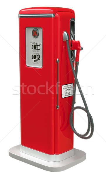 Klasszikus piros benzinpumpa izolált fehér oldalnézet Stock fotó © Arsgera