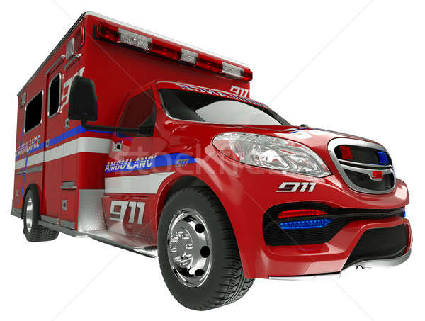 Ambulance: wide angle view of emergency services vehicle on whit Stock photo © Arsgera