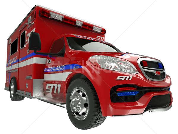 Pogotowia widoku służby ratunkowe pojazd biały Zdjęcia stock © Arsgera