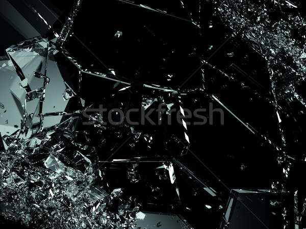 Broken or cracked glass on black Stock photo © Arsgera