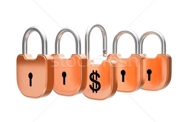 Dollaro valuta sicurezza isolato bianco chiave Foto d'archivio © Arsgera