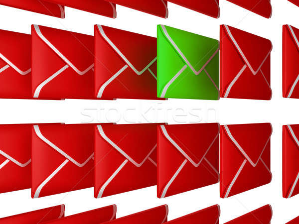 Stock photo: Check your Email - unread letter among red envelopes