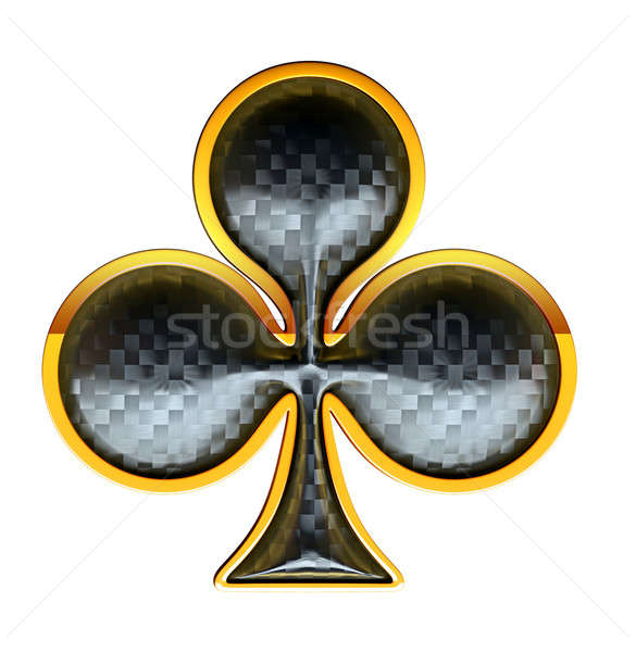 Clubs textured card suits with golden framing Stock photo © Arsgera