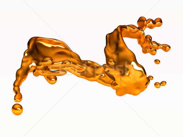 Splash of golden fluid with drops over white Stock photo © Arsgera
