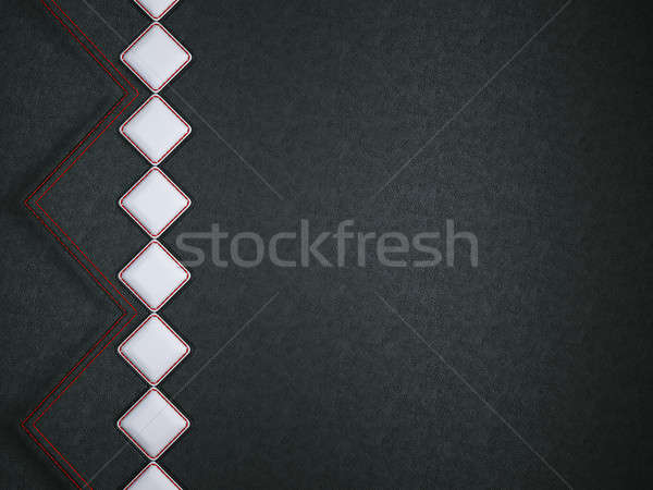 Leather background with red stitch and white rhombuses  Stock photo © Arsgera