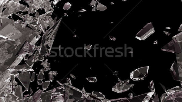 Pieces of shattered glass isolated on black Stock photo © Arsgera