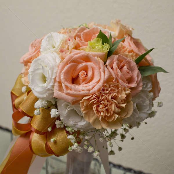 Virágcsokor narancs fehér sárga virág virágcsokor citromsárga Stock fotó © art9858