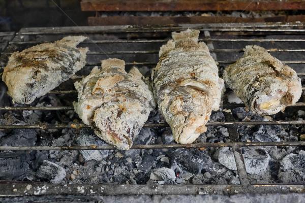 Thai étel grillezett hal étel utca fehér Stock fotó © art9858