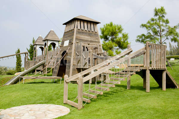 Children's Playground made from wood in park Stock photo © art9858