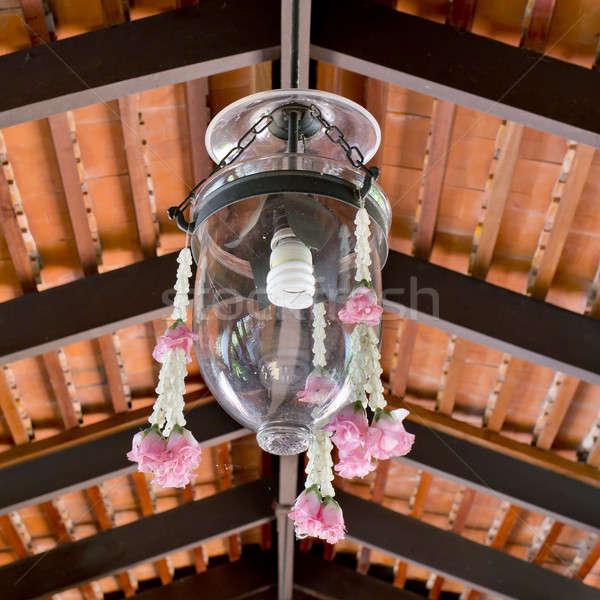 Thai estilo vidro lâmpada sombra flor Foto stock © art9858