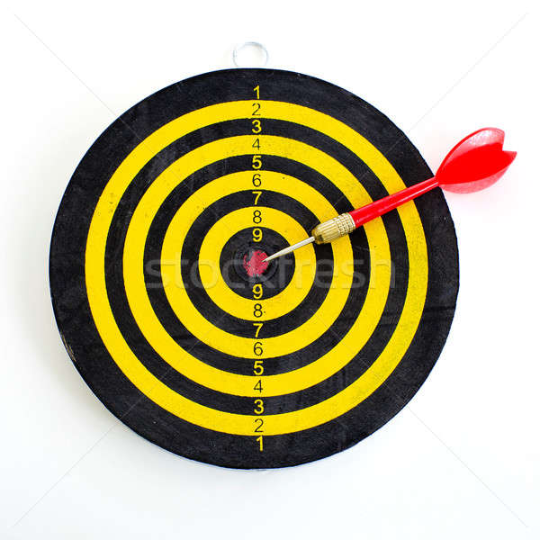 One darts in center of target isolated on white Stock photo © art9858