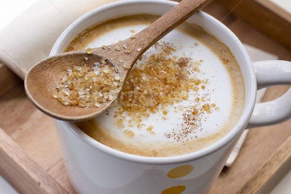 Cassonade cuillère tasse café cappuccino restaurant Photo stock © art9858