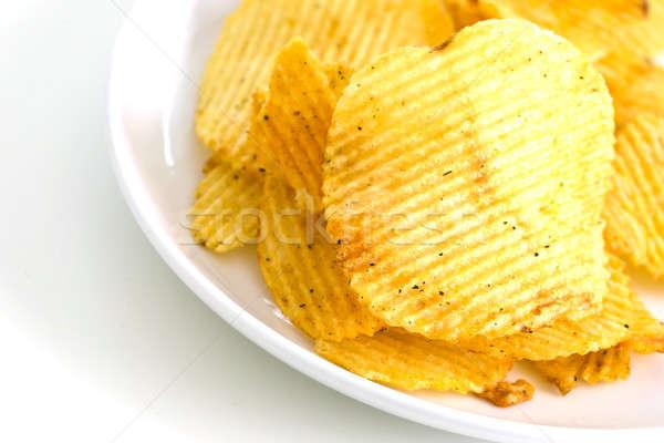 Batatas fritas isolado branco fundo cor gordura Foto stock © art9858