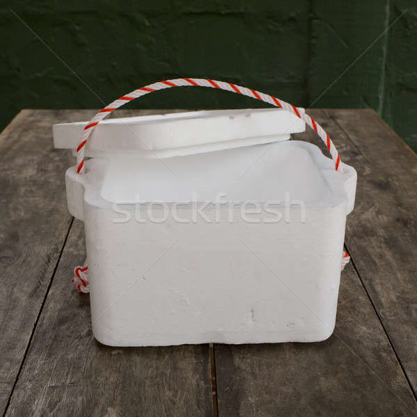 Styrofoam storage box on wood table Stock photo © art9858