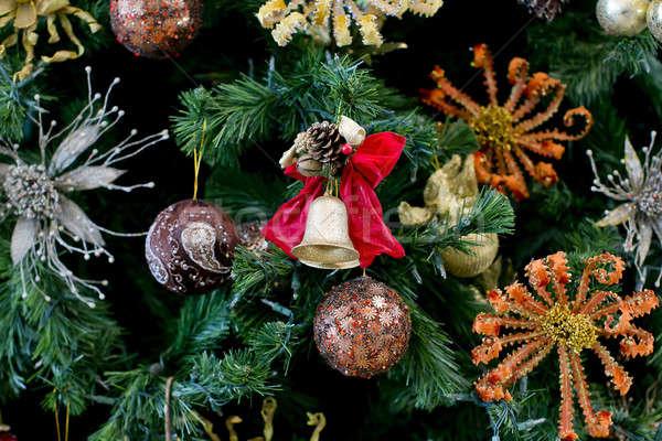 Christmas golden bell on the Christmas tree Stock photo © art9858