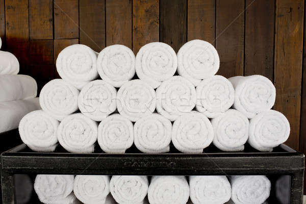 White spa towels pile ready to use. Stock photo © art9858