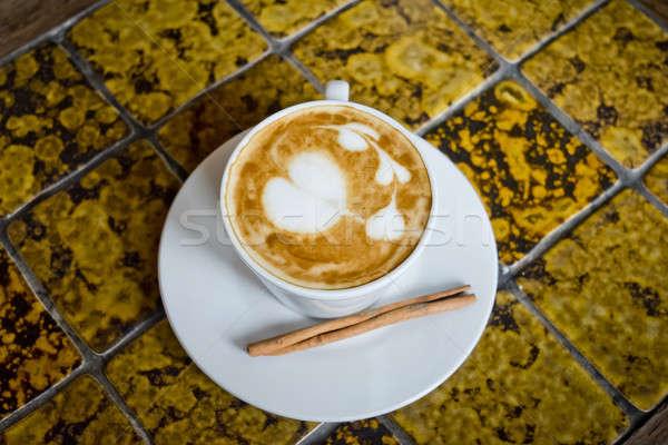 Copo café canela em pau árvore madeira café Foto stock © art9858