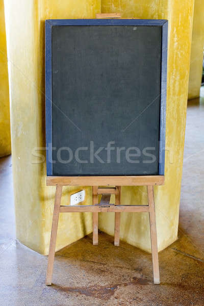 Blank menu chalkboard in wooden frame (Save Paths For design wor Stock photo © art9858