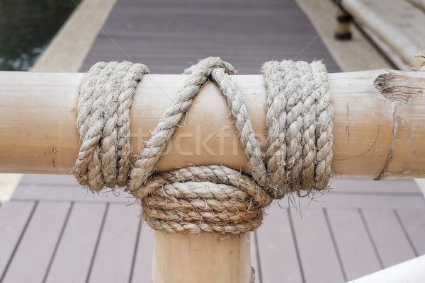Kötél csomó bambusz fa pocsolya hal Stock fotó © art9858