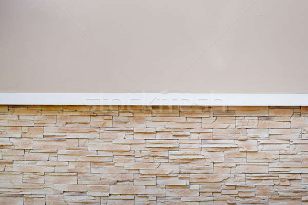 Stock photo: Half cement half rock, wall pattern