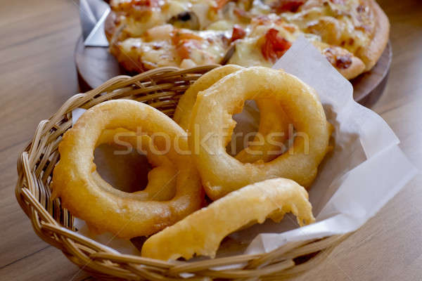 Fried onion rings. Side Dish.Fast food Stock photo © art9858