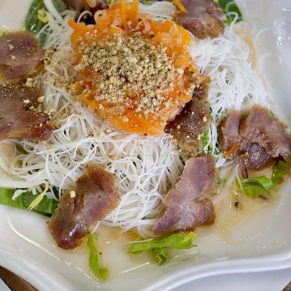 ストックフォト: 豚肉 · 焼き · コメ · ヌードル · 野菜 · 典型的な