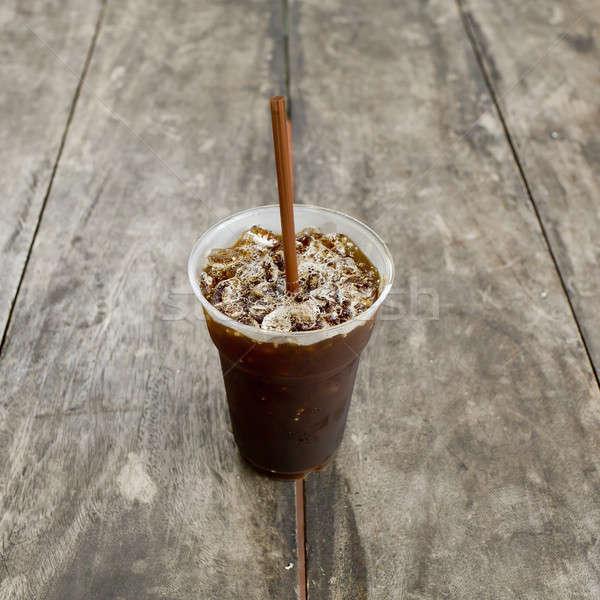 Foto stock: Delicioso · gelo · café · madeira · velha · tabela · verão