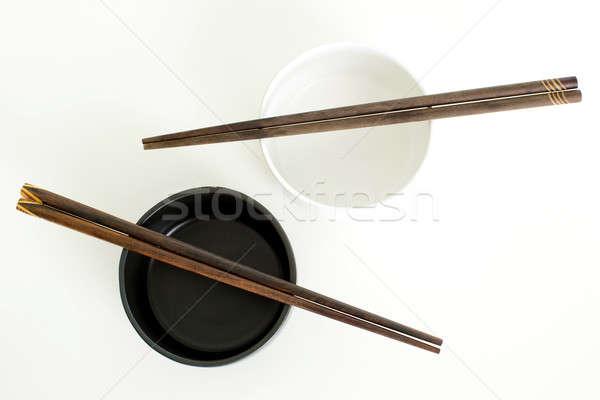 Tradicional vacío arroz tazón bambú palillos Foto stock © art9858