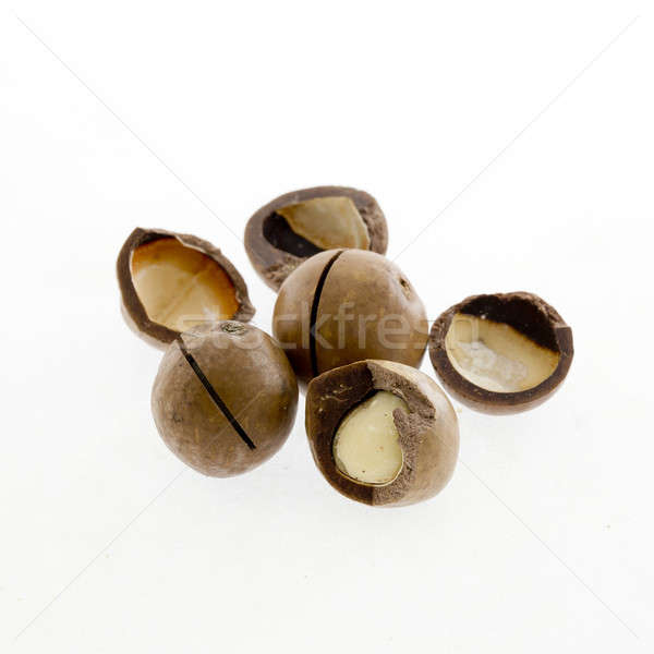 Shelled and unshelled macadamia nuts on white background Stock photo © art9858