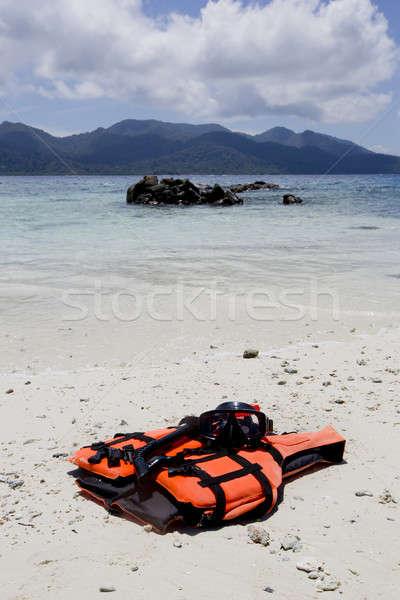Zwemvest opslaan leven strand hemel water Stockfoto © art9858