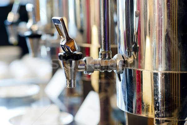 Koffiezetapparaat glas zwarte moderne zilver geïsoleerd Stockfoto © art9858