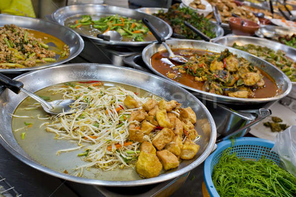 Sok thai étel elad friss piac Ázsia Stock fotó © art9858