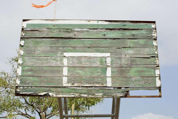 Eski kırık basketbol ağaç alan beyaz Stok fotoğraf © art9858