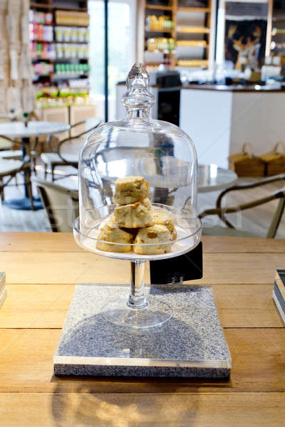 Kurabiye cam yemek kapak tepsi durmak Stok fotoğraf © art9858