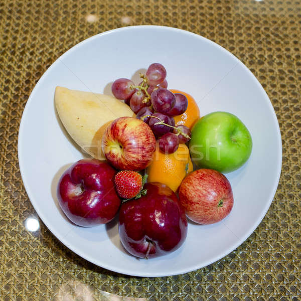 Mix fresh fruits in white dish Stock photo © art9858