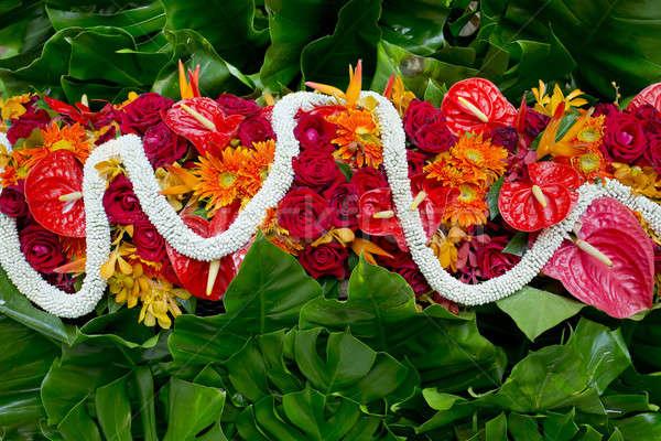 Gardenia, red roses and gree leaf, Thai style fresh flower decor Stock photo © art9858