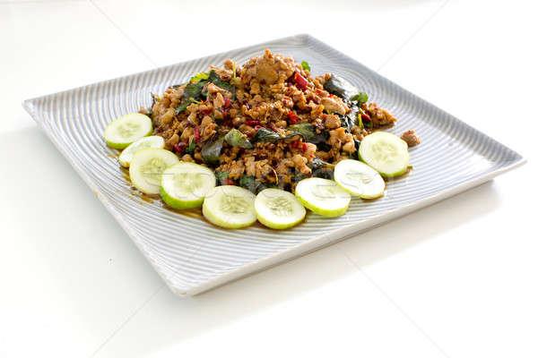 Thai fűszeres étel bazsalikom hús sült Stock fotó © art9858