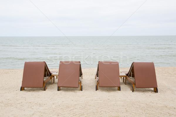 şezlong kum plaj tatil tatil Stok fotoğraf © art9858