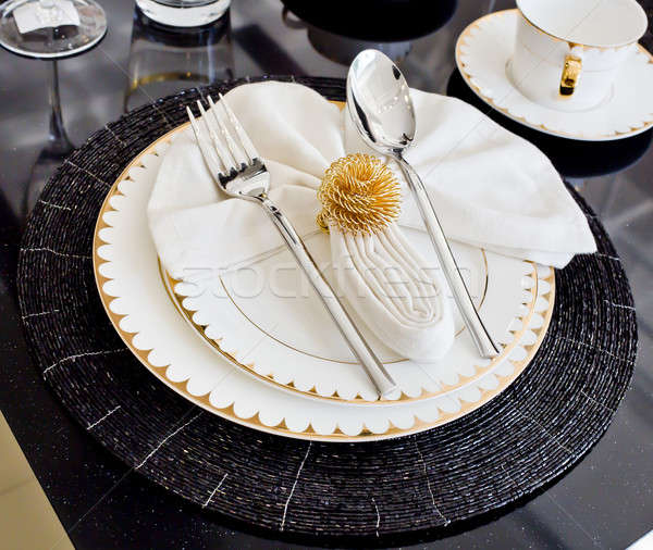 Luxury table setting for dine in hotel Stock photo © art9858