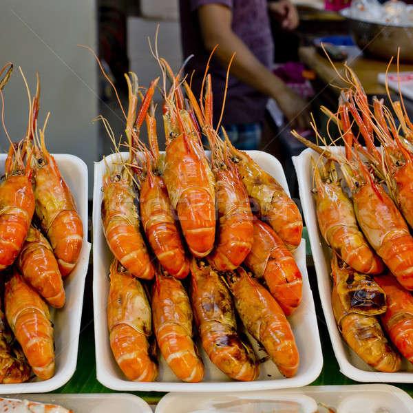 Grillezett garnélák Thaiföld piac étel narancs Stock fotó © art9858