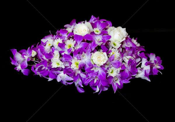 Purple orchid on black Stock photo © art9858