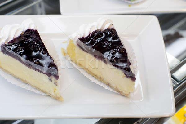 Foto stock: Tarta · de · queso · placa · alimentos · frutas · fondo · queso