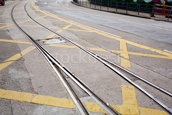 street railway with yellow street mark Stock photo © art9858
