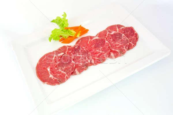 High grade sliced Hida wagyu beef isolated on white background Stock photo © art9858