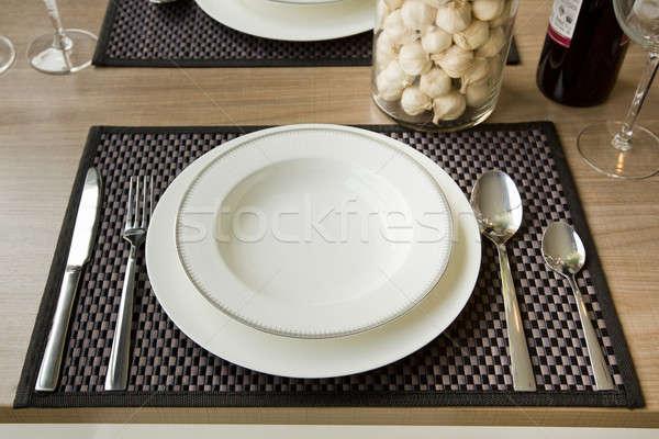 table setting in restaurant interior, desaturated Stock photo © art9858
