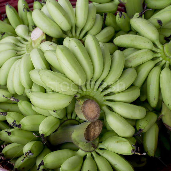Green banana bundle in basket ready to sell Stock photo © art9858
