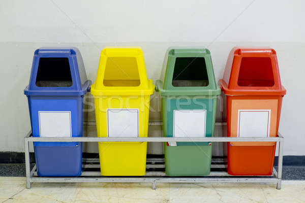 Different Colored wheelie bins set with waste icon Stock photo © art9858