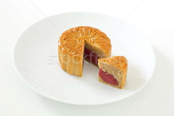 Stock fotó: Hold · torta · fehér · étel · háttér · ázsiai