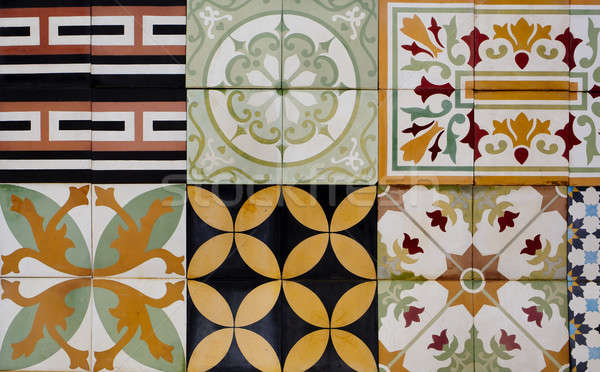 Collection of 9 ceramic tiles Stock photo © art9858
