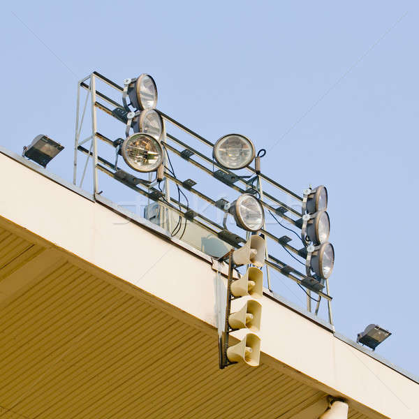 White loudspeakers and spotlight on the metal construction Stock photo © art9858
